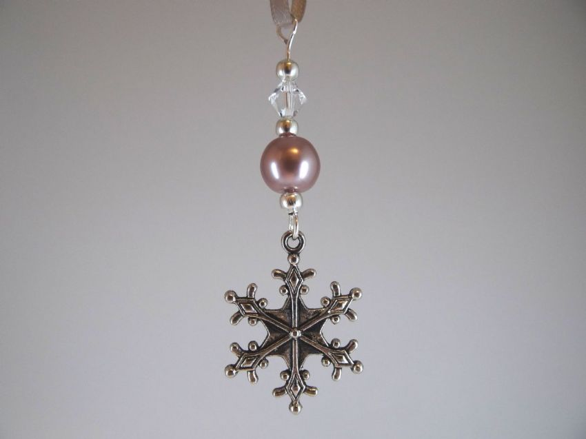 Silver Snowflake, Taupe (Pink/Beige) Pearl Bead & Crystal - Xmas Tree Decoration